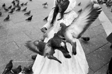 Ref VENISE 9 – Petite fille masquée avec pigeon