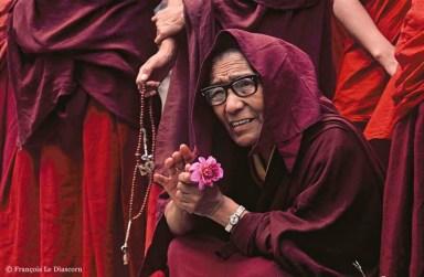 Ref BOUDDHA 11 – Moine tibetain avec fleur, McLeod Ganj, Inde