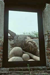 Ref BOUDDHA 16 – Tête de Bouddha à travers une ouverture de temple, ruines bouddhistes d'Ayuthaya, Thaïlande